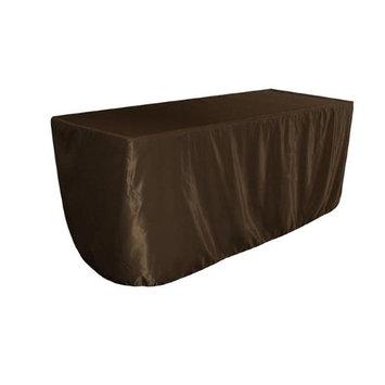 LA Linen TCbridal-fit-96x48x30-BrownB22 Fitted Bridal Satin Tablecloth Brown - 96 x 48 x 30 in.