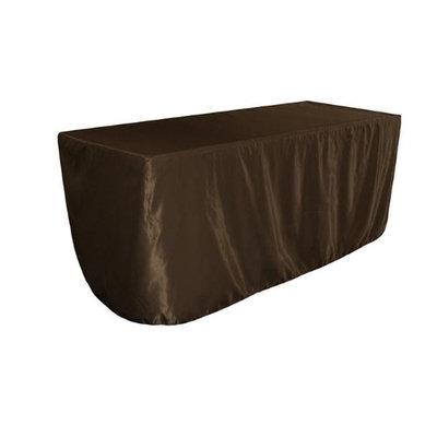 LA Linen TCbridal-fit-96x30x30-BrownB22 Fitted Bridal Satin Tablecloth Brown - 96 x 30 x 30 in.