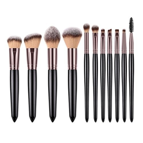 Honhui11 pieces - pearl handle - Soft Highlight Eyebrow Eyeshadow Blush Makeup Brush Sets Tools