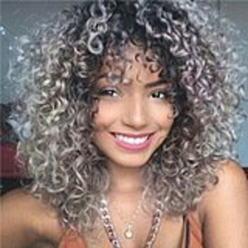 Qianbaihui Kinky Curly Wigs for Black Women Ombre Grey Synthetic Black To Grey Curly hair wigs (1B/Grey Color)
