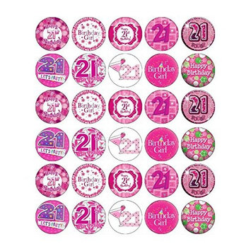 21st Birthday Girl Pink Cupcake Toppers Edible Wafer Paper BUY 2 GET 3RD FREE