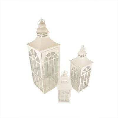 Christmas Central Set of 3 White Asian Inspired Pillar Candle Holder Lanterns 26