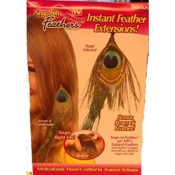 Snap-On Feathers - Instant Feather Extensions! Peacock Feather Snaps Right On!