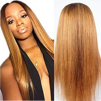 RosesAngel #4/#33 Ombre Human Hair Wig for Black Women Straight Human Hair Wigs Glueless Lace Frontal Wig Bleached Knots Full Lace Wig 16