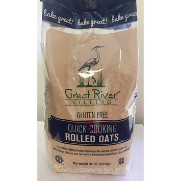 Great River Milling Gluten Free Quick Cooking Rolled Oats, 32 Ounce (Pack of 4)