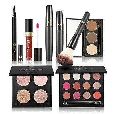 Frcolor Makeup Set - Eyeshadow, Mascara, Eyeliner, Eyebrow Powder, Blush Brush, Lip Gloss, 4 color Powder