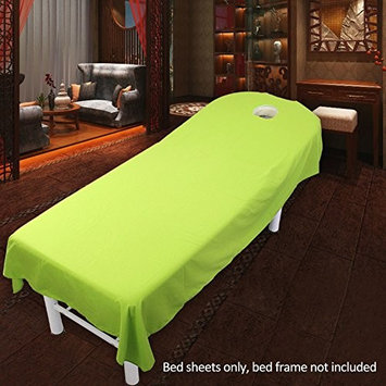 Beauty Massage Treatment Soft Sheets Spa Massage Treatment Table Bed Cover with Hole (green)
