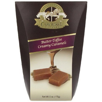 Carousel Candies Butter Toffee Creamy Caramels, 6-Ounce Boxes (Pack of 6)