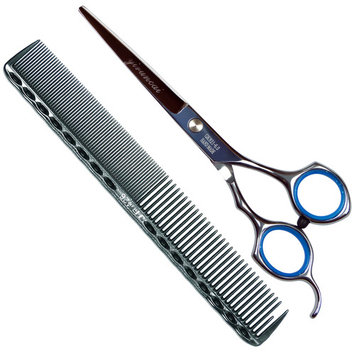 Professional Barber Razor Edge Hair Cutting Shaving Scissors/Texturing Shears-6 Inch-420 Stainless Steel,with Comb and Adjustable Finger Inserts