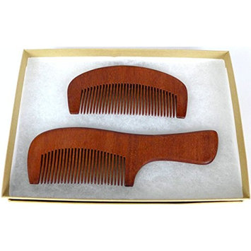 Cypress Lane Premium Wooden Hair Comb / Beard Comb, Quality Amoora Wood with Elegent Gift Box., Set of 2, Unisex