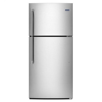 Maytag MRT519SZDM 19.1 cu. ft. Top-Freezer Refrigerator with 3 Shelves, 1 Fixed Full-Width Gallon Door Bin, 4 Adjustable Partial-Width Gallon Door Bins, 1 Fixed Full-Width Glass Freezer Shelf and BrightSeries LED Lighting: Stainless Steel