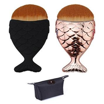 Mermaid Fish Makeup Brush Powder Blush Cosmetic Brushes Tool 2 PCS