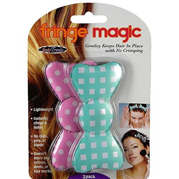Fringe Magic Keep Hair in Place Hair Clip Grip (Pack of 2) (Light Green & Pink)
