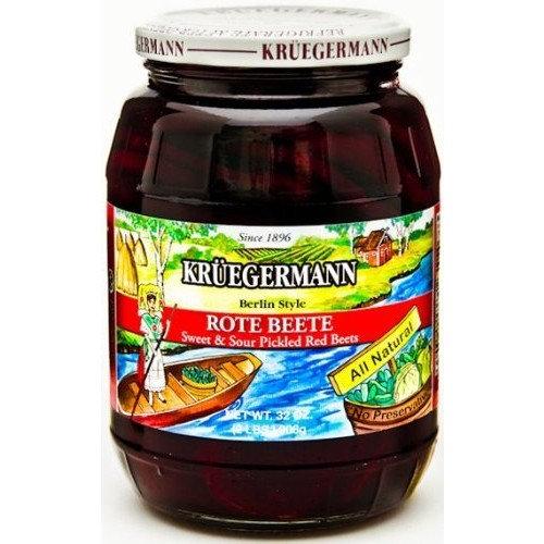Kruegermann, 2 Jars of 32oz Rote Sweet & Sour Pickled Beets