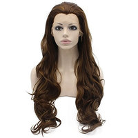 Mxangel 26inch Long Wavy Highlight Brown Synthetic Lace Front Wig Natural