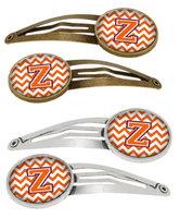 Letter Z Chevron Orange and Regalia Set of 4 Barrettes Hair Clips CJ1062-ZHCS4