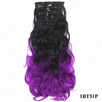 PrettyWit Ombre Curly Wavy Full Head 18-20 Inch Long Clip in on Synthetic Hair Extensions 7pcs/set for Women-Black to Purple 1BT51P
