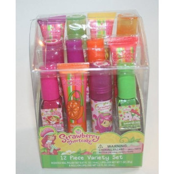 STRAWBERRY SHORTCAKE 12 PIECE VARIETY SET OF SCENTED NAIL POLISH, LIPGLOSS AND ROLL-ON LIP GLOSS by Added Extras, LLC