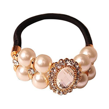 Shineweb Faux Pearls Rhinestone Elastic Band Hair Tie Ponytail Holder