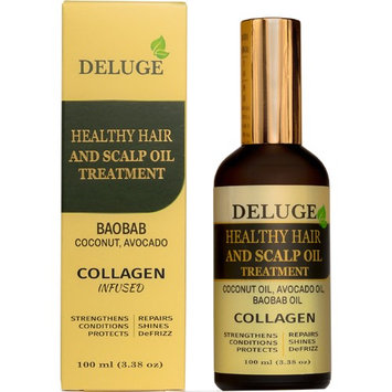 Deluge Healthy Hair and Scalp Oil Treatment - Baobab Oil, Coconut Oil, Avocado Oil - COLLAGEN Infused - Strengthens, Repairs, Shines, DeFrizz - Net Wt 3.38 oz (100 ml)