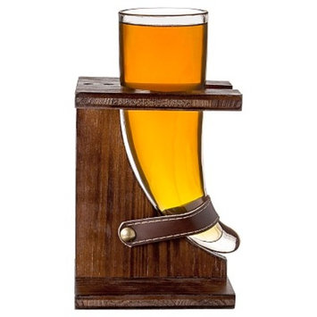 Cathy's Concepts 16 oz. Glass Viking Beer Horn with Rustic Stand