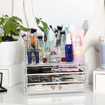 Acrylic Makeup Organizer Case Clear Cosmetic Jewerly Display Box 3 Large Drawers Storage Holder