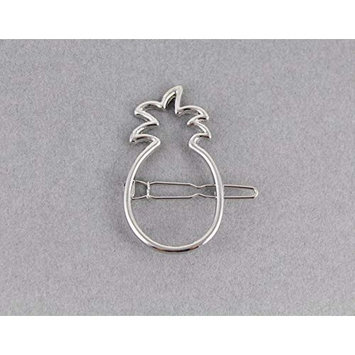 Silver pineapple barrette outline shape metal hair clip barrette fruit shape