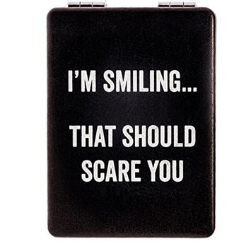 "Snark City's Double Sided Compact Mirror – ""I'M SMILING... THAT SHOULD SCARE YOU"" – 2xMagnification + Standard Mirror, Pocket-Size, Perfect for Purse and Travel + Sarcastic, Funny and a bit Sassy"