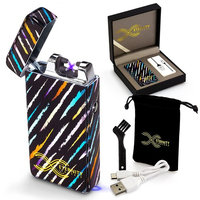 2018 Deal Eternity Lighters Flameless Electronic Rechargeable Windproof Premium Survival or Candle Lighter with Dual Arc, USB Cord, Brush, and Bag in Gift Box