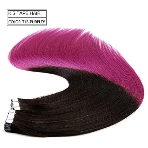 """Neitsi 20"""" 50g 20pcs/lot Tape in Human Hair Weft Extension Straight Glue Hair Weft Ombre Two Tone (T1B/Purple#)"""