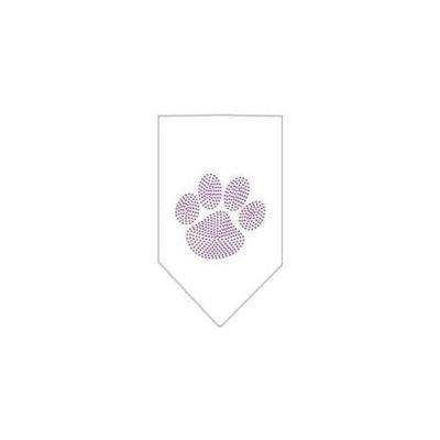 Ahi Paw Purple Rhinestone Bandana White Large