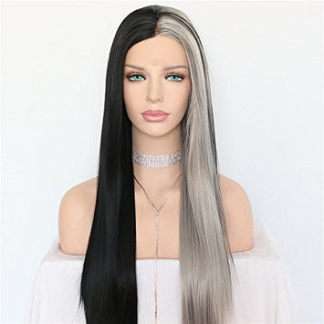 Half Balck Half Gray Glueless Cosplay Fashion Party Long Synthetic Lace Front Wig