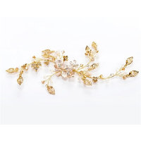 BININBOX Vintage Wedding Hair Combs Alloy Flower With Bead For Women Bridal Bridesmaids Headpiece Head Band Accessorie Golden
