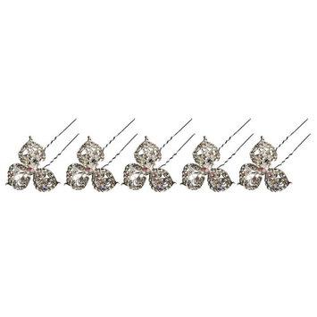 AENMIL U-Shape Clover Hairpin, 5PCS Pack Alloy Diamond Hair Pin for Bride Wedding Headdress Accessories [Clover]