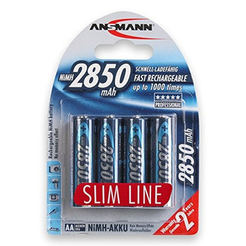 ANSMANN AA Rechargeable Batteries 2850mAh Slimline high-capacity rechargeable NiMH AA Battery for cameras etc. (20-Pack) (5035212-US-590-3)
