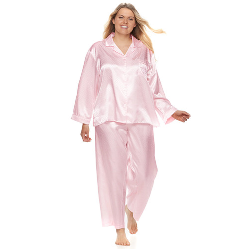Plus Size Miss Elaine Essentials Brushed Satin PJ Set