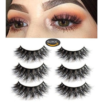 3D Mink Fake Eyelashes -100% Handmade 3D Mink Fur Eyelashes for Makeup with Natural Messy Volume Fluffy Long Hot Thick Fake Eyelashes& Reusable Wispy Lashes 3Pair Package