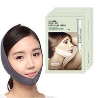 Korean Beauty V-Line Chin Care Tightening Lift Essence Mask Sheet with Face Slimming Cheek Mask V Line Belt Strap (5 Mask Sheet + 1 Strap)
