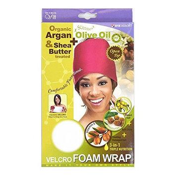 Qfitt Organic Argan Oil and Shea Butter Treated Premium Fabric Open Top Adjustable Velcro Foam Wrap White