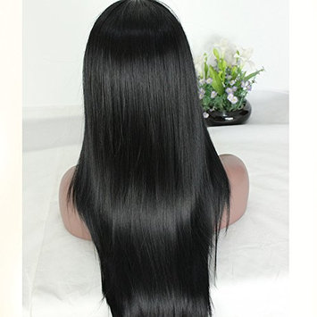 PlatinumHair Synthetic Lace Front Wig Black Soft Straight Wigs Heat Resistant Glueless Lace Front Wigs for Women 24