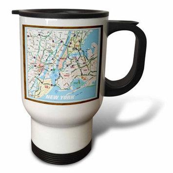 3dRose Framed NYC Boroughs, Travel Mug, 14oz, Stainless Steel