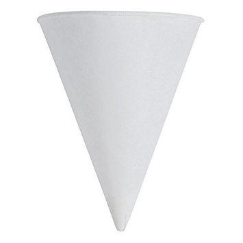 Paper Cone Cups, w/Rolled Rim, 4 oz., White, 200/Pack, 5000/Carton