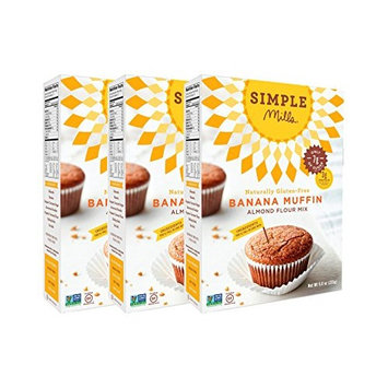 Simple Mills Almond Flour Mix, Banana Muffin & Bread, 9 oz, 3 count [Banana Muffin & Bread Mix]