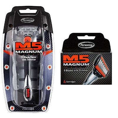 Personna M5 Magnum 5 Razor with Trimmer + M5 Magnum 5 Refill Razor Blade Cartridges, 4 ct. + FREE Assorted Purse Kit/Cosmetic Bag Bonus Gift