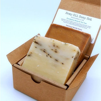 Hemp Oil Soap Set (2 Full Size Bars) - Eucalyptus Tee Tree Peppermint, Patchouli Vanilla - Great for DRY/SENSITIVE Skin - Handmade in USA with ALL Natural, Non-GMO Ingredients