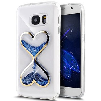 Urberry Glaxy S7 Case, Running Glitter Cover, Blue Sparkle Love Heart, Creative Design Flowing Liquid Floating Luxury Bling Glitter Sparkle Hard Case for Samsung Galaxy S7 with a Screen Protector