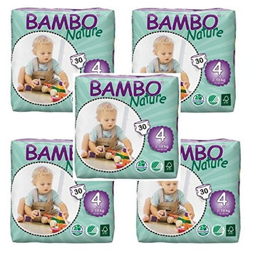 Bambo Nature Baby Diapers Classic (Size 4, Count 30, Pack of 5)