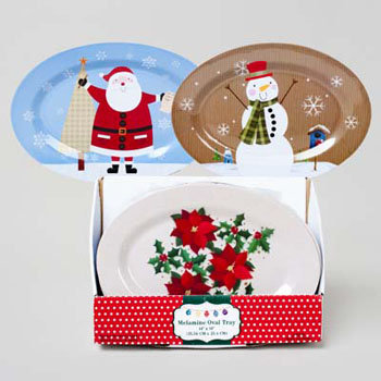 Dollaritemdirect SERVING TRAY OVAL MELAMINE 14X10 3AST CHRISTMAS DESIGNS/24PC PDQ, Case Pack of 24