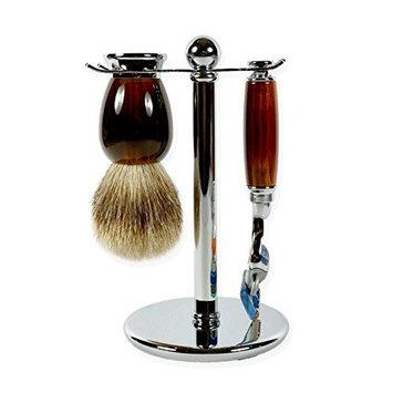 3 piece Tortoise Imitation shaving set with Silver-tip brush and Fusion Razor handle