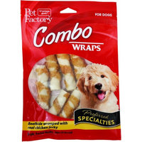 Pet Factory Combo Wraps Beefhide Twist Rolls Wrapped w/ Chicken Jerky, 3in 8ct